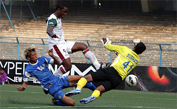 Action from match between Rangdajied United FC and Mohun Bagan played on Sunday