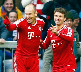Robben double gives Bayern another win