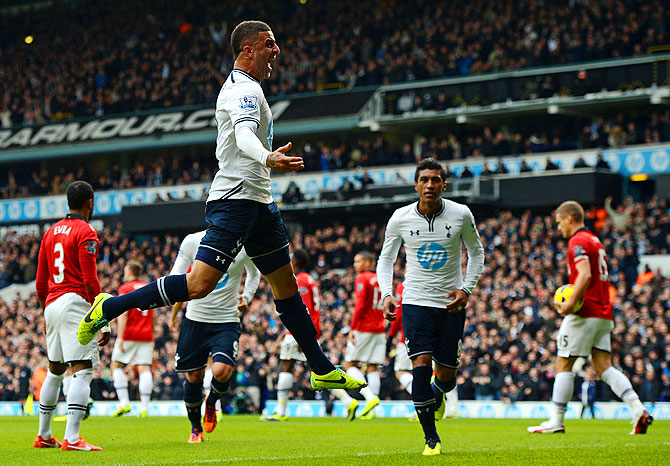 Kyle Walker of Tottenham Hotspur celebrates scoring the opening goal against Manchester United during their English Premier League match at White Hart Lane in London on Sunday