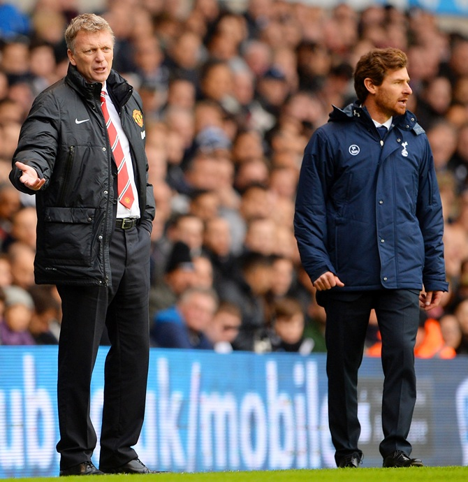 David Moyes manager of Manchester United and Andre Villas-Boas manager of Tottenham Hotspur