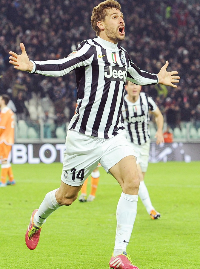 Fernando Llorente of Juventus celebrates after scoring the opening goal