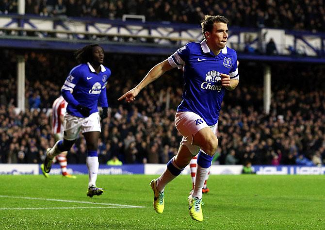 Seamus Coleman of Everton celebrates his goal