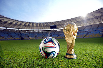A general view of Brazuca and the FIFA World Cup Trophy at the Maracana before the adidas Brazuca launch at Parque Lage