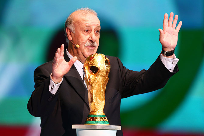 Spain coach Vicente del Bosque on stage