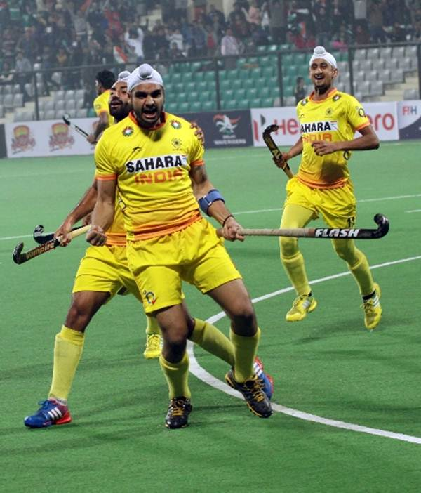 Gurjinder Singh celebrates after scoring against Korea