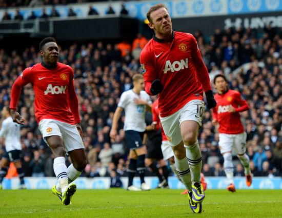 Wayne Rooney celebrates after scoring a goal