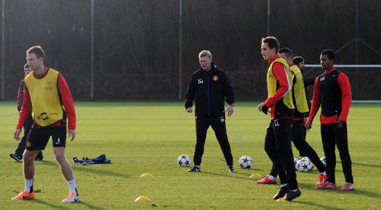 David Moyes during Manchester United training