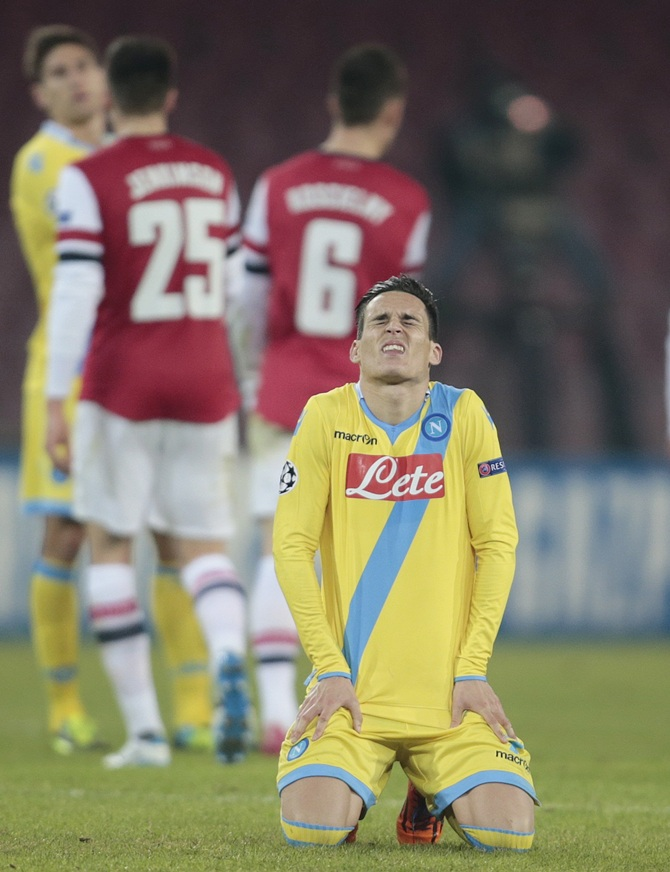 Napoli's Jose Callejon reacts after defeating Arsenal