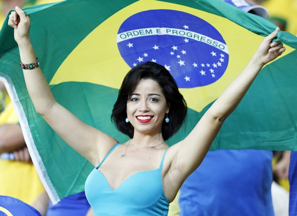A fan of Brazil smiles
