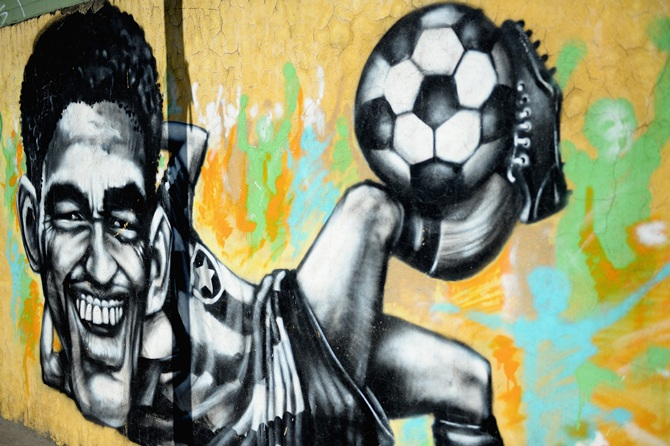 Graffiti Art showing former Brazilian World Cup winner Garrincha