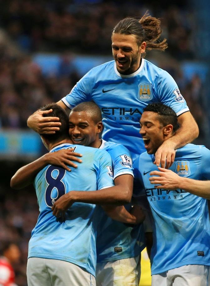 Fernandinho of Manchester City celebrates scoring their fifth goal