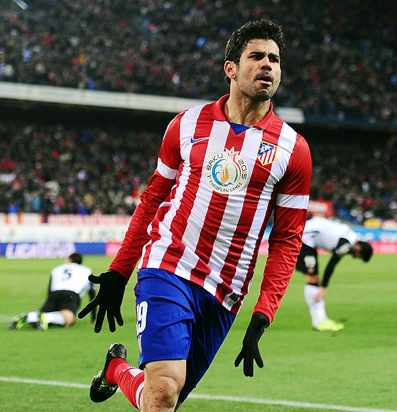 Diego Costa of Atletico Madrid celebrates a goal
