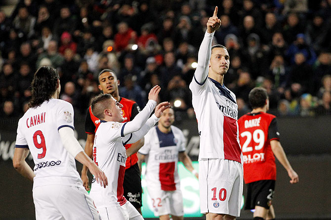 Paris Saint-Germain's Zlatan Ibrahimovic celebrates after scoring against Stade Rennes
