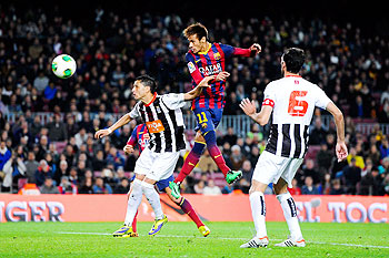 Neymar of FC Barcelona scores his team's third goal during the Copa del Rey round of 32 second leg match against Cartagena at Camp Nou on Tuesday