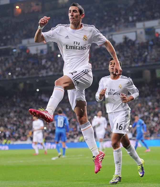 Angel di Maria of Real Madrid celebrates