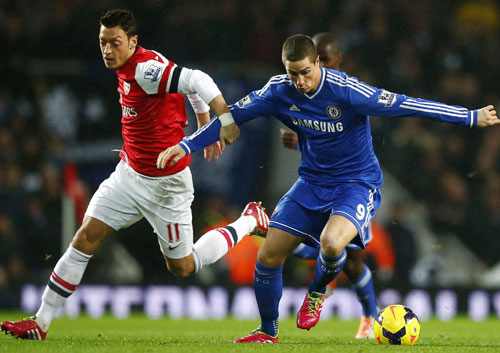 Mesut Ozil and Fernando Torres