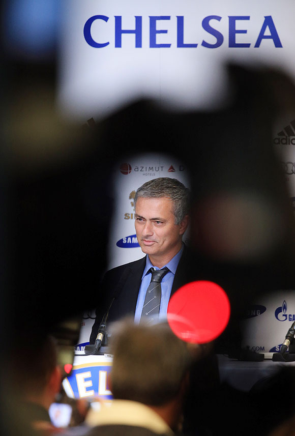 Jose Mourinho talks to the media