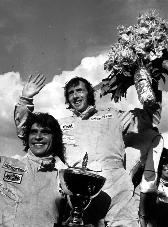 Scottish motor racing driver Jackie Stewart and his Tyrrell teammate Francois Cevert