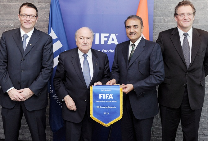 (From left) Thierry Regenass, Joseph Blatter, Praful Patel and Jerome Valcke pose at the FIFA Headquarters
