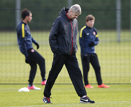 Arsene Wenger during a training session on Monday