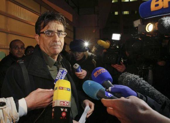 Deputy director Jean Marc Grenier talks to media outside the CHU Nord hospital in Grenoble