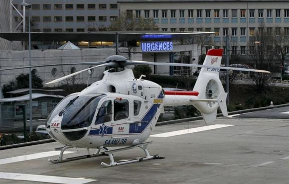 A helicopter stands outside the CHU Nord hospital in Grenoble, French Alps, where retired seven-times Formula One world champion Michael Schumacher is reported to be hospitalized