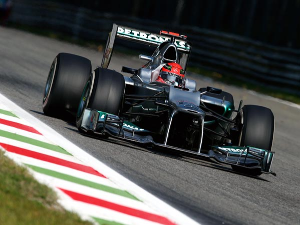 Michael Schumacher of Mercedes drives during practice for the Italian GP at the Autodromo Nazionale di Monza on September 7, 2012