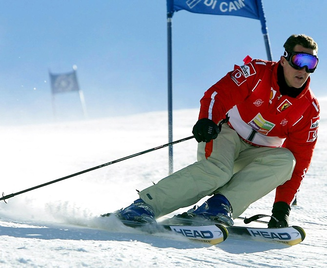 Michael Schumacher of Germany skis