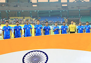 Indian players during the national anthem before the match on Wednesday