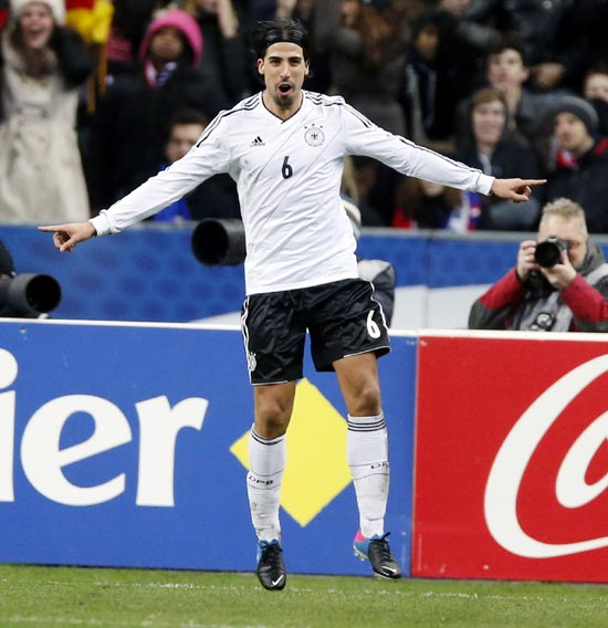 Sami Khedira celebrates after scoring Germany's second goal