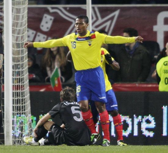Ecuador's Luis Valencia celebrates his goal