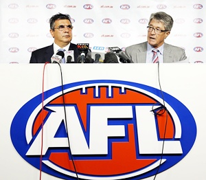 AFL CEO Andrew Demetriou (left) and AFL Commission Chairman Mike Fitzpatrick