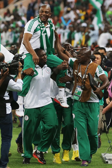 Nigeria Manager, Stephen Keshi is lifted by his players