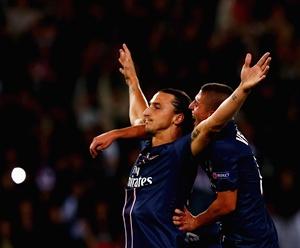 Zlatan Ibrahimovic of Paris Saint-Germain celebrates