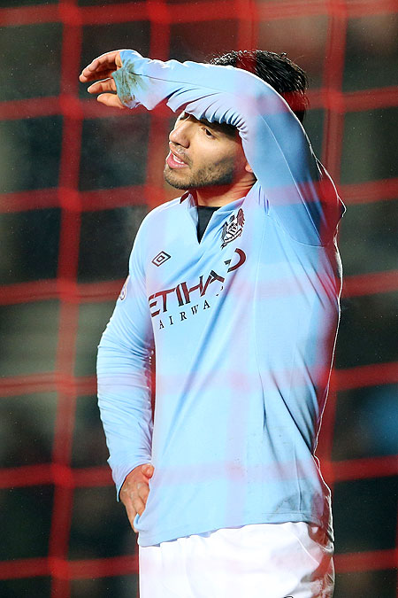 A frustrated Sergio Aguero of Manchester City