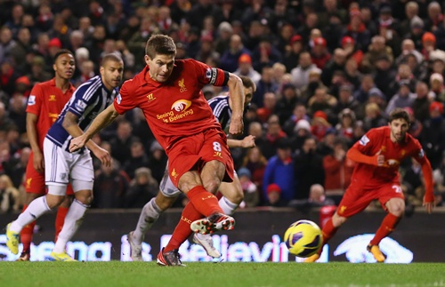 Steven Gerrard of Liverpool takes and subsequently misses a penalty kick
