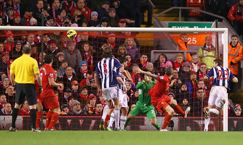 Gareth McAuley of West Bromwich Albion scores the opening goal