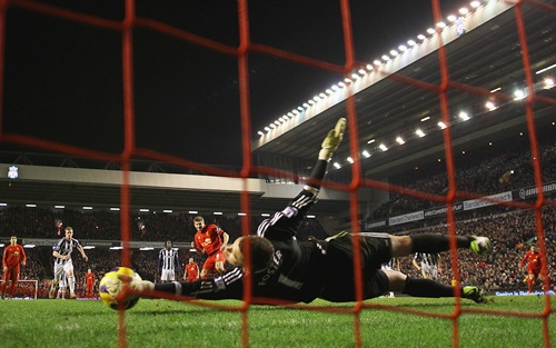 Ben Foster of West Bromwich Albion saves the penalty kick