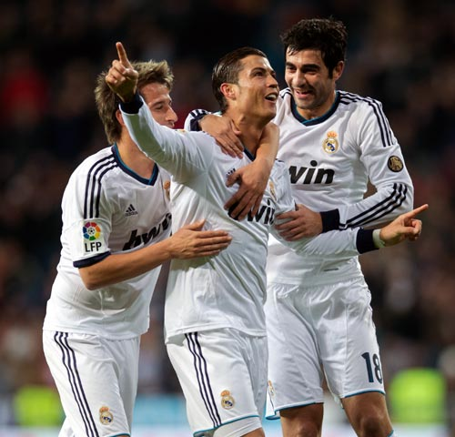 Cristiano Ronaldo celebrates scoring a goal with his Real Madrid team-mates