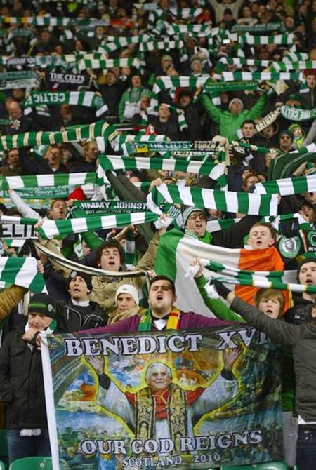 Celtic supporters sing