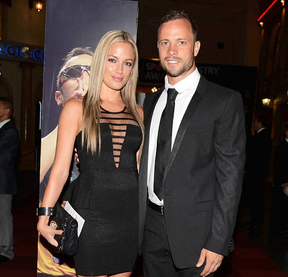Oscar Pistorius with his girlfriend Reeva Steenkamp