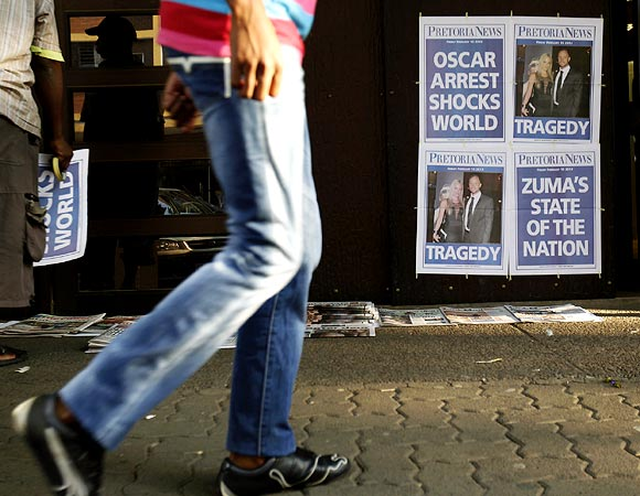 Newspapers with a headline that refers to South African Oscar Pistorius in Pretoria