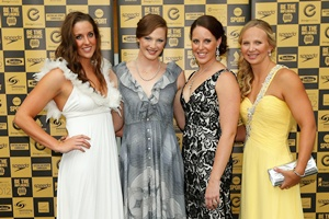 Australian Olympic gold medal relay team Brittany Elmslie, Cate Campbell, Alicia Coutts and Melanie Schlanger