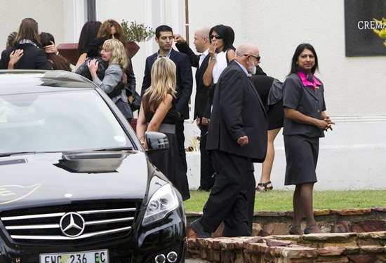 The family of Reeva Steenkamp arrive at the Victoria Park Crematorium ahead of a memorial service for their daughter in Port Elizabeth