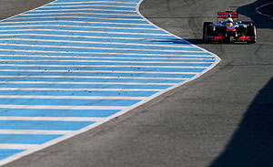 Sergio Perez of Mexico and McLaren drives during Formula One winter testing