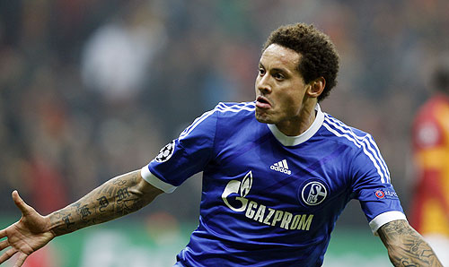Schalke 04's Jermaine Jones celebrates his goal against Galatasaray during their Champions League match on Wednesday
