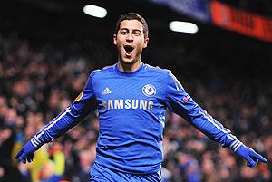 Eden Hazard of Chelsea celebrates his goal during the UEFA Europa League Round of 32 second leg match against Sparta Praha at Stamford Bridge on Thursday