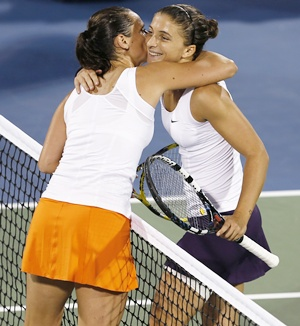 Sara Errani (right) of Italy hugs compatriot Roberta Vinci
