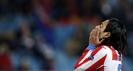 Atletico Madrid's Radamel Falcao reacts