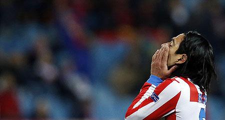 Atletico Madrid's Radamel Falcao reacts